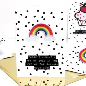 Personalised good luck cards with scented rainbow motif