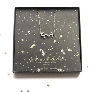 Sterling Silver Scorpio Zodiac star sign necklace with free gift box