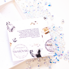 Load image into Gallery viewer, Swarovski Crystal New Baby granddaughter Cards come with a certificate telling the bride and groom how special their card is | The Luxe Co