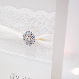 Ivory Lace & Crystal Engagement Sparkly Card - theluxeco.co.uk