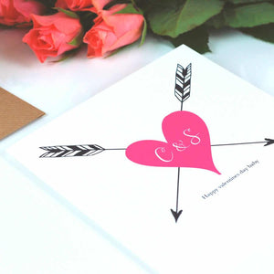 Pink heart mothers day card personalised | The Luxe Co