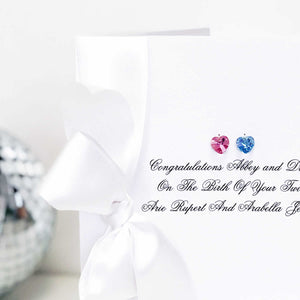 What to give as baby twins gift / card | Swarosvki crystal heart for each twin | The Luxe Co