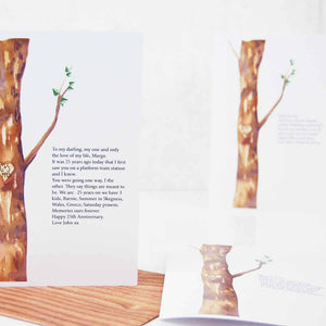 Personalised Watercolour Tree Carved Initials 25th Anniversary Card - theluxeco.co.uk