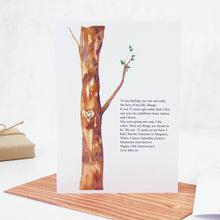 Load image into Gallery viewer, Personalised Watercolour Tree Carved Initials 25th Anniversary Card - theluxeco.co.uk