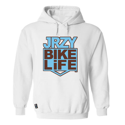 JRZY BIKELiFE Hoodie White/Blue/Brown