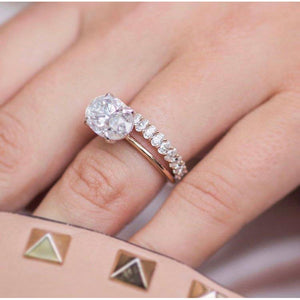 HARPER 4.7 Carat (12x8mm) East West Skinny Crushed Ice Oval Moissanite Engagement Ring in Two-Tone Solitaire In 14k White and Rose Gold