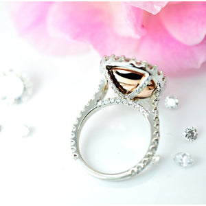 MISCHA 5 Carat (Center 11x9mm) Elongated Cushion Morganite Engagement Ring with Glamorous Halo 14K White Gold 7.25 CTW