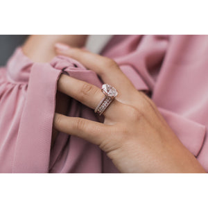 SCARLETT 1.2 Carat Total Dainty Crushed Ice Oval Cut Moissanite 3/4 Eternity Stacking band or Wedding Band in 14K Rose Gold