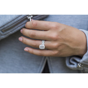 SERENA 5 Carat (11x9mm) Elongated Crushed Ice Elongated Cushion Moissanite Engagement Ring With Pave Setting in 14K White Gold