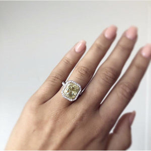 VALENCIA 4.7 Carat Center (10.5x9mm) Fancy Canary Yellow Crushed Ice Radiant Cut Moissanite With Halo Engagement Ring in 14K White Gold