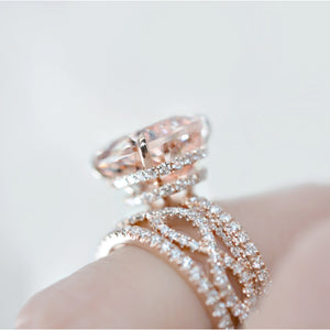 PEYTON 5 Carat East West Set Elongated Morganite Cushion Engagement Ring with Double Invisible Halo and Triple Micropave Band in 14K Gold
