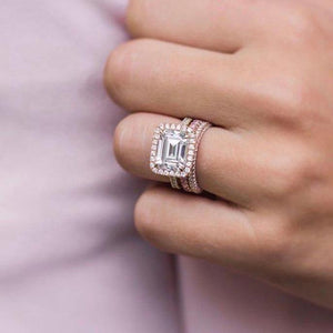 PARKER 3.8 Carat (10x8mm) East West Set Emerald Cut Moissanite Halo Engagement Ring in 14K Yellow Gold With Pave Details