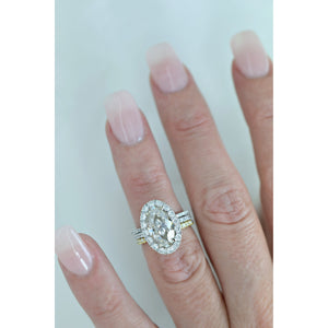 PEARLA 4 Carat Center 12x7mm Vintage Cut Moval Moissanite Engagement Ring with Cluster Halo in 14K White Gold (5.75 CTW)