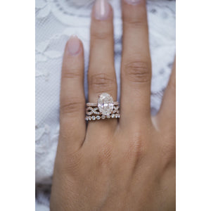 SURI .70 CTW Floating 3/4 Eternity Moissanite Wedding or Stacking Band 2.2 mm in 14K Rose Gold