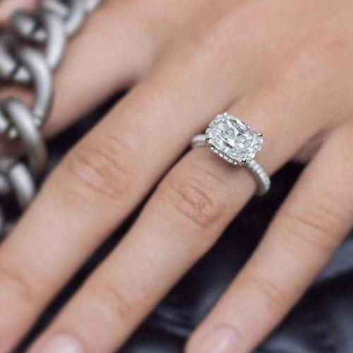 PEYTON 4.45 Carat (11.5x8.5mm) East West Set Elongated Crushed Ice Cushion Moissanite Engagement Ring Double Invisible Halo, 14K White Gold