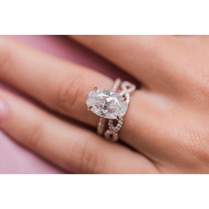 LEIGHTON 7 Carat (13x8.5mm) Skinny Crushed Ice Oval Moissanite Engagement Ring with Invisible Halo in 14K Rose Gold Inspired By Blake Lively