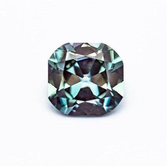 3.07 Carat Blue/Green Old Mine Cushion