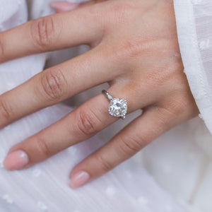 HARLOW 3 Carat (9mm) Old European Cut Moissanite Vintage Inspired NSEW Triple-Split Prong Engagement Ring in White 14K Gold Setting
