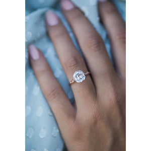HARLOW 2.7 Carat (8mm) Octogonal Colorless Asscher Cut Edwardian Vintage Inspired Moissanite Engagement Ring in 14K Rose Gold Setting
