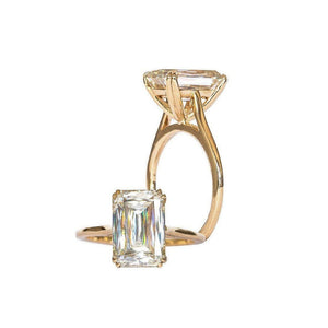 STELLA 3.80 Carat (10.5x7mm) Crisscut Style Moissanite Dainty Double Claw Prong Cathedral Solitaire Engagement Ring in 14K Yellow Gold