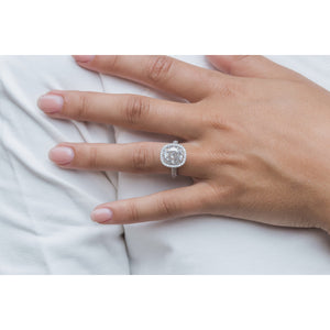 SHILOH 3.60 Carat (10x9mm) Elongated Crushed Ice Cushion Moissanite Engagement Ring With Three-Sided Halo and Band in 14K White Gold