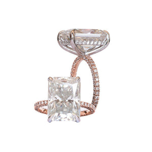 ROWAN 8 Carat (13x9.5mm) Elongated Crushed Ice Radiant Moissanite Engagement Ring with Invisible Halo in Two-Tone 14K White and Rose Gold