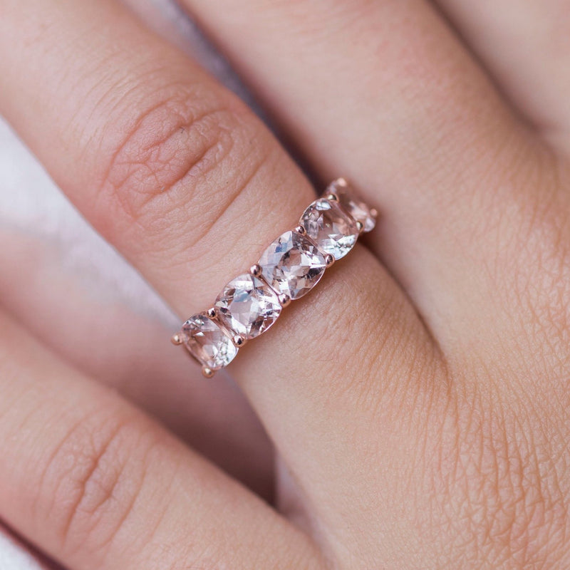 PORTIA 2.75 CTW 5-Stone Cushion Morganite Anniversary/Wedding Band in 14K Rose Gold