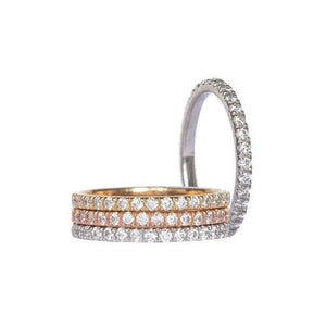 RYAN (Set of 1, 2 or 3) 1.5mm Chic Pave Eternity Wedding Anniversary or Stacking Band With Moissanite Stones in 14K Gold