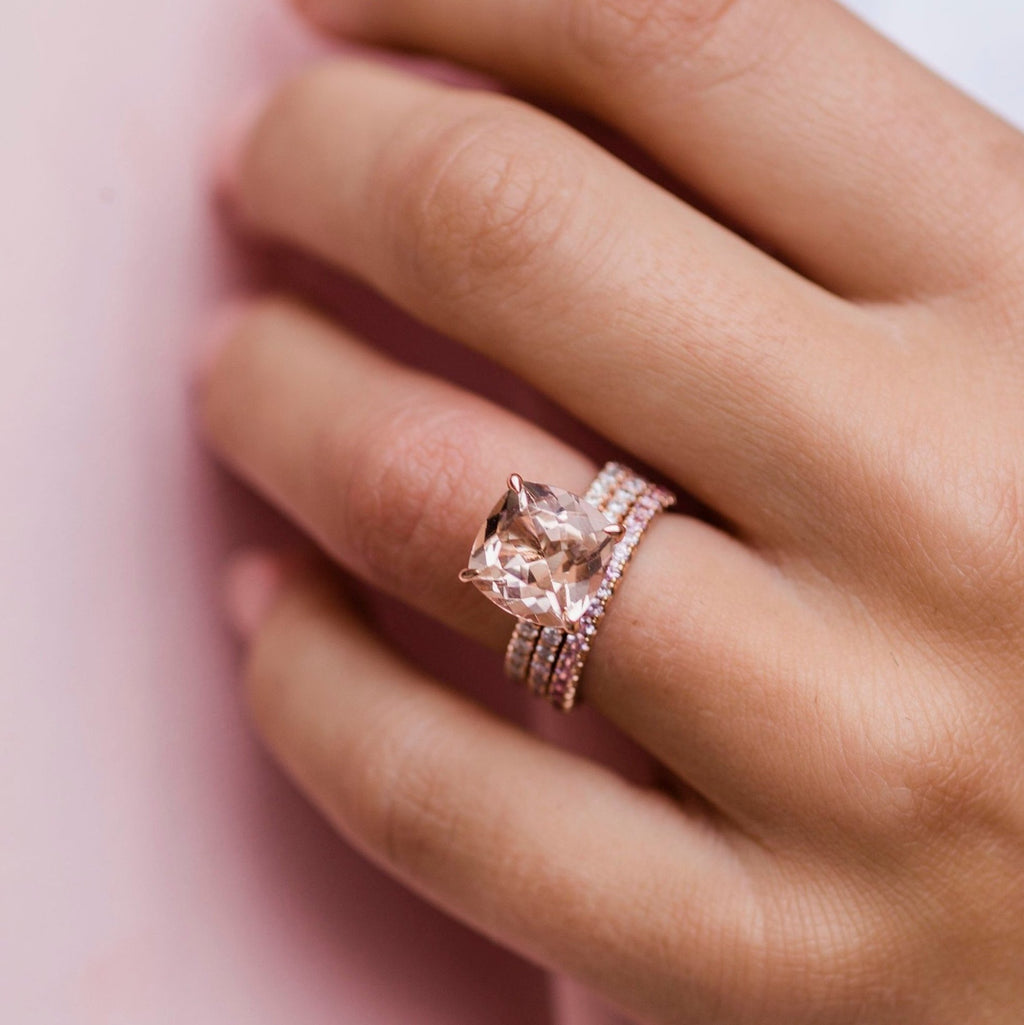 DYLAN 5 Carat (10mm) Cushion Morganite Engagement Ring with Invisible Halo in 14K Rose Gold With Dainty Band
