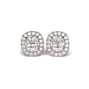 MISCHA STUDS 2 CTW Per Earring (7x6mm Center) Elongated Crushed Ice Cushion Moissanite With Halo Stud Earring in 14K White Gold