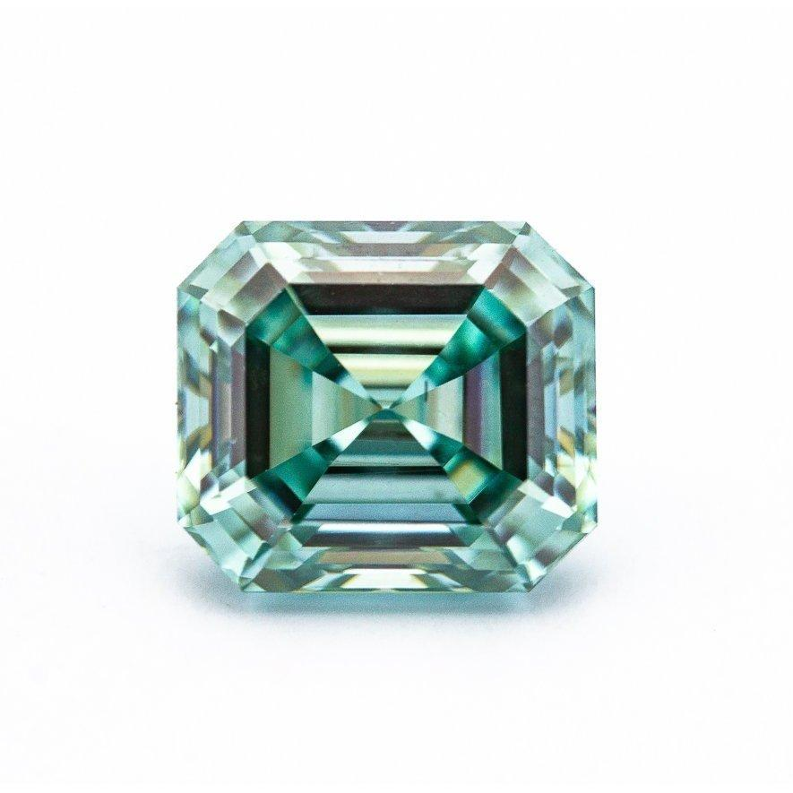 3.3 Carat Light Blue/Green Asscher Cut