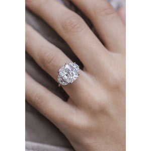 CAMILLA 8 CTW (5.5 Carat Center) Three Stone Ring With Elongated Antique Cushion and Half Moons Moissanite Engagement Ring In Platinum