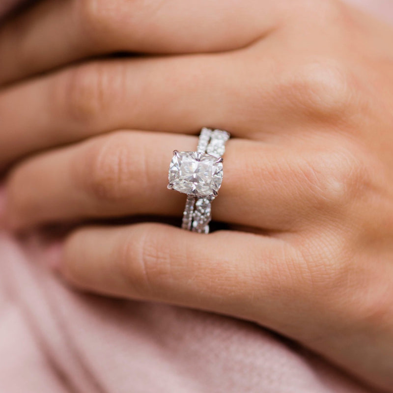 SERENA/MISCHA 3.2 Carat (10x8mm) Elongated Crushed Ice Elongated Cushion Moissanite Engagement Ring With Pave Setting in 14K White Gold