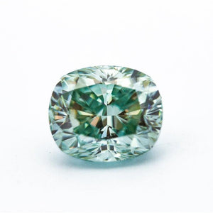 5.45 Carat Light Blue/Green Crushed Ice Hybrid Cushion