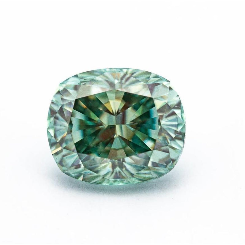4.75 Carat Light Blue/Green Crushed Ice Hybrid Cushion
