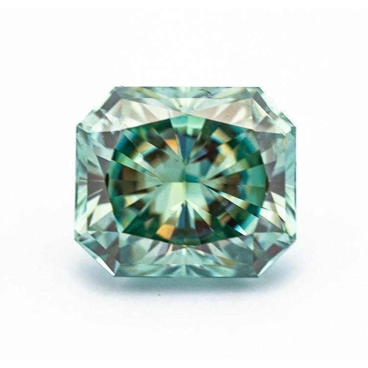 5 Carat Light Blue/Green Radiant Crushed Ice Hybrid