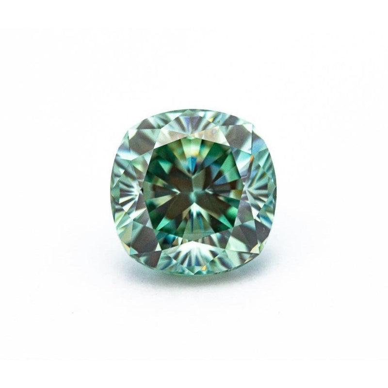 4.9 Carat Light Blue/Green Crushed Ice Hybrid Cushion