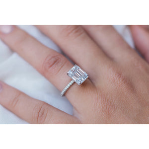 ROWAN 3.8 Carat (10x8mm) Colorless Emerald Moissanite Engagement Ring with Invisible Halo and Micropave Setting in Platinum