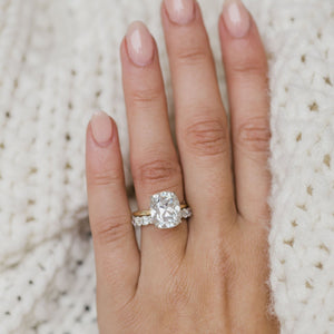 TATUM 7 Carat (12x10mm) Elongated Antique Cushion Moissanite Solitaire Engagement Ring In Two-Toned 14k White and Yellow Gold Setting
