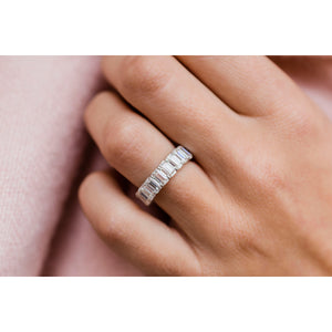 CELINE 3.5 CTW 12-Stone Emerald Cut Moissanite Eternity Wedding Band in 14K Platinum With Claw Prongs
