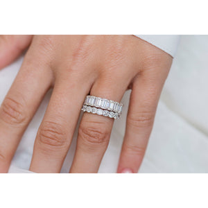 FALLYN 2 CTW 10-Stone or Eternity 3mm Crushed Ice Cut Moissanite Anniversary/Wedding Band in 14K White Gold
