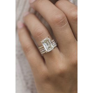 ROWAN 7 Carat (13x9mm) Elongated Canary Yellow Crisscut Style Moissanite Engagement Ring with Invisible Halo in 14K Yellow Gold