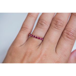 SURI .70 CTW Natural Ruby Floating Eternity Wedding or Stacking Band in 14K Rose Gold with Small Sizing Bar