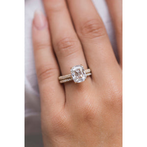 LEIGHTON 3.8 Carat (10x8mm) Cushion Crisscut Style Moissanite Pave Engagement Ring with Invisible Halo in 14K Yellow Gold