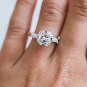 HARLOW 2.7 Carat (8mm) Colorless Asscher Cut 3-Stone Moissanite Engagement Ring with Baguettes in White 14K Gold Setting