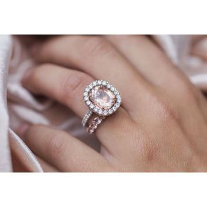 MILLY 1.1 CTW 10-Stone 3mm Round Cut Morganite Anniversary/Wedding Band in 14K Rose Gold