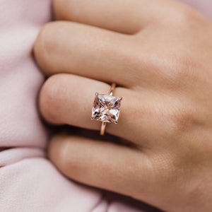 DYLAN 3.3 Carat (9mm) Cushion Morganite Engagement Ring with Invisible Halo in 14K Rose Gold With Solitaire Band
