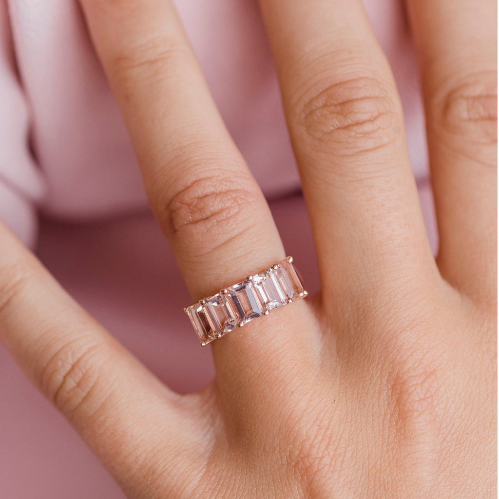 PORTIA 2.5 CTW 5-Stone Emerald Cut Morganite Anniversary/Wedding Band in 14K Rose Gold