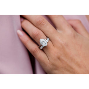 HARPER 4.7 Carat (12x8mm) Skinny Crushed Ice Oval Moissanite Solitaire Engagement Ring In 14k White Gold