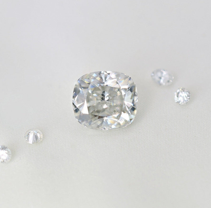 5.70 Carat Modern White Crushed Ice Cushion